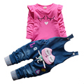2017 New Hot Spring Baby Girls Clothing Set Children Denim overalls jeans pants + Blouse Full Sleeve Twinset Kids Clothes Sets