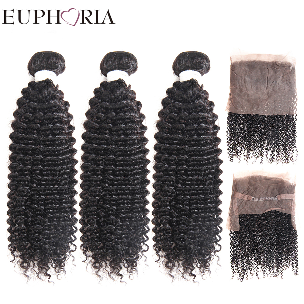 EUPHORIA Peruvian Kinky Curly Human Hair Bundles With 360 Lace Frontal Closure Remy Hair Weaves 3 Bundles With Frontal For Salon