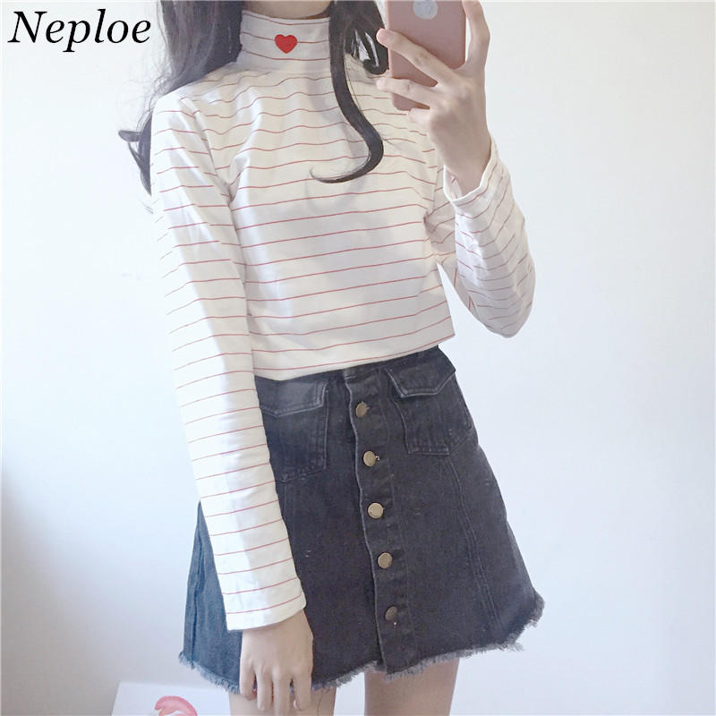 Neploe Stripe Pullover Heart Embroidery Top 2018 Autumn Spring Long Sleeve Turtleneck Tops Woman Fashion Slim Fit Clothes 34060