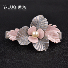 Women Hair Accessories Pearl Leaf Flower Clip Pink Vintage Barrette For Girls