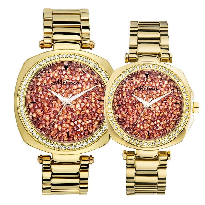 Men's Watch Women's Watch Japan Mov Fashion Full Rhinestone Luxury Couple Clock Crystal Lovers' Watch Birthday Gift Melissa Box