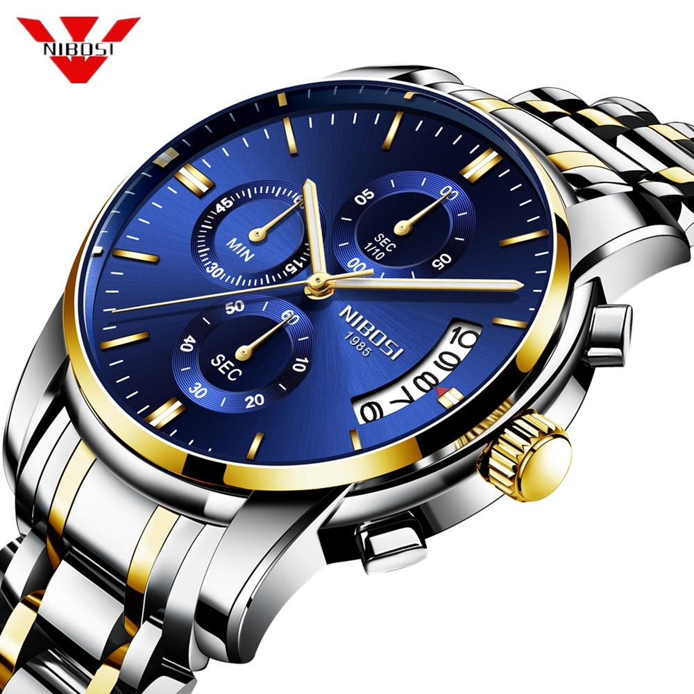 NIBOSI 2018 Luxury Business Men Quartz Watches Luminous Waterproof Military Sport Watch Male Wristwatches Relogio Masculino цена