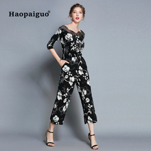 2018 Autumn Plus Size Black Print Floral Wide Leg Pants Women Work Office High Waist Slim Jumpsuit Casual Pants Female Clothing plus floral and geo print wide leg pants
