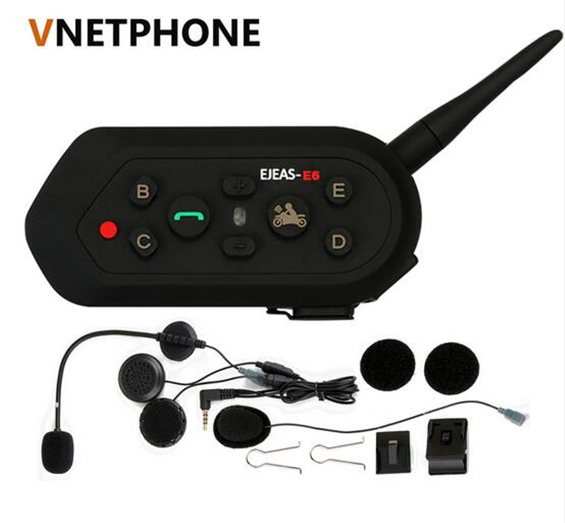 VNETPHONE E6 1200m VOX Bluetooth Motorcycle Intercom Headset for Half Full Face KTM Helmets Support Music MP3 Motorradhelm Blue
