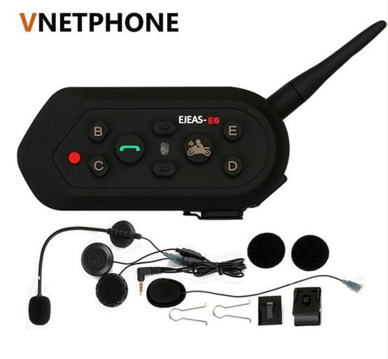 VNETPHONE E6 1200m VOX Bluetooth Motorcycle Intercom Headset for Half Full Face KTM Helmets Support Music MP3 Motorradhelm Blue vox ac4c1 blue