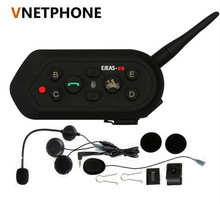 VNETPHONE  E6 1200m VOX Bluetooth Motorcycle Intercom Headset for Half Full Face KTM Helmets Support Music MP3 Motorradhelm Blue
