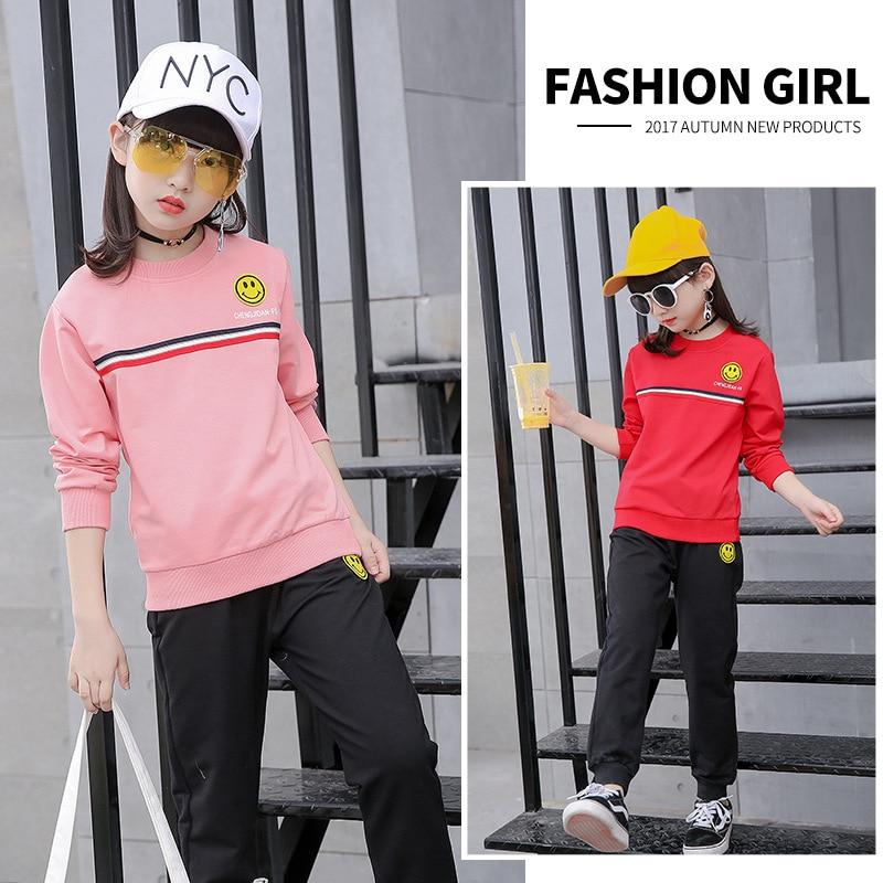 Kids girls spring / fall 2 pcs sets 2017 new baby girls clothing fashion smiling face big children set 3/4/5/6/7/8/9/10/11/12/13