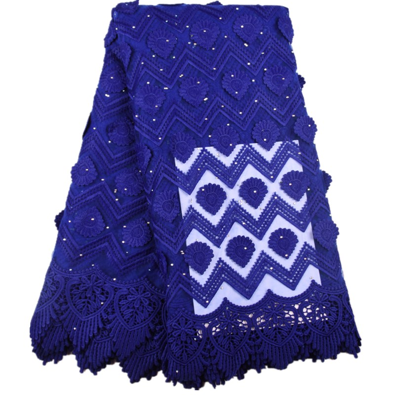 Royal Blue Milk Silk Dress Nigerian Net Lace Fabric High Quality French Lace Fabric African Applique