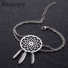 Sitaicery Silver Color Dreamcatcher Charm Bracelets For Women & Bangles Dream Catcher Jewelry Bracelet Girls