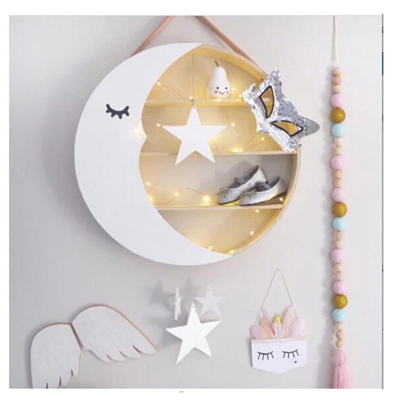 Accrocher des étagères enfants chambre décor lune stockage supports mignon mur cintre en bois cadeaux de noël jouets Figurines affichage supports de stockage