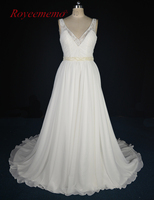 Royeememo 2017 New Design Real Photo High Quality Chiffon Wedding Dress Hot Sale Beach Style Bridal