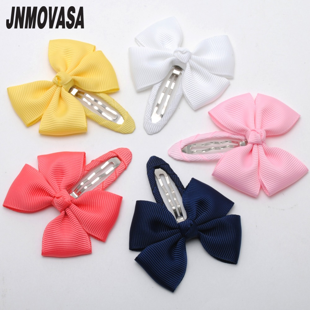 2pcs/lot Solid Grosgrain Bows Toddler Baby Girls Hair Snap Clips Hairpins Children Accessories Assorted Colors