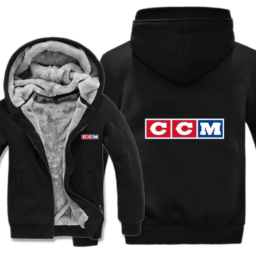 CCM Logo Hoodie Pria Fashion Mantel Pullover Wol Liner Jaket CCM Kaus Hoody HS-094