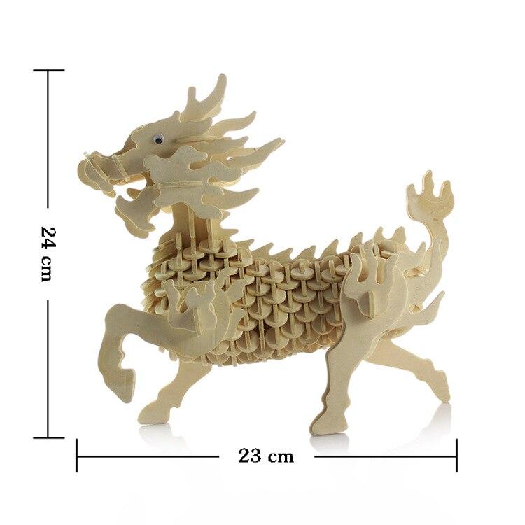 3D деревянные трехмерная головоломка Игрушечные лошадки для детей DIY ручной работы деревянный модель небольшой животных Единорог