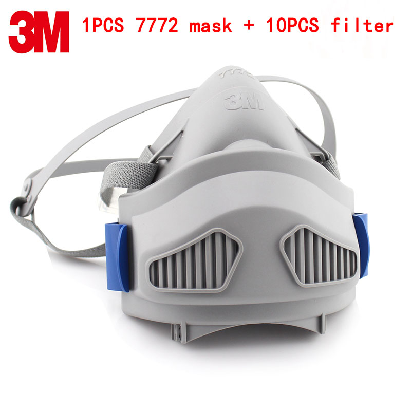 3M 7772 respirator mask 1PCS mask + 10PCS filter against Industrial dust smoke PM2.5 Labor protection dust respirator silicone abs dust filter respirator mask dark grey