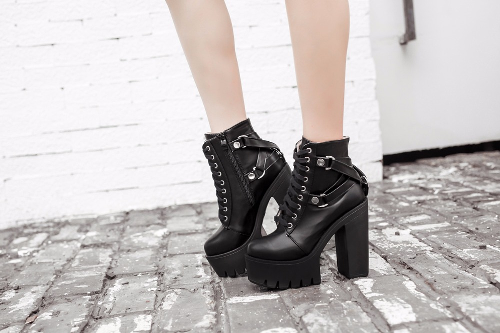 Gothic Cross Strap Ankle Boots Women Faux Leather Platform Shoes