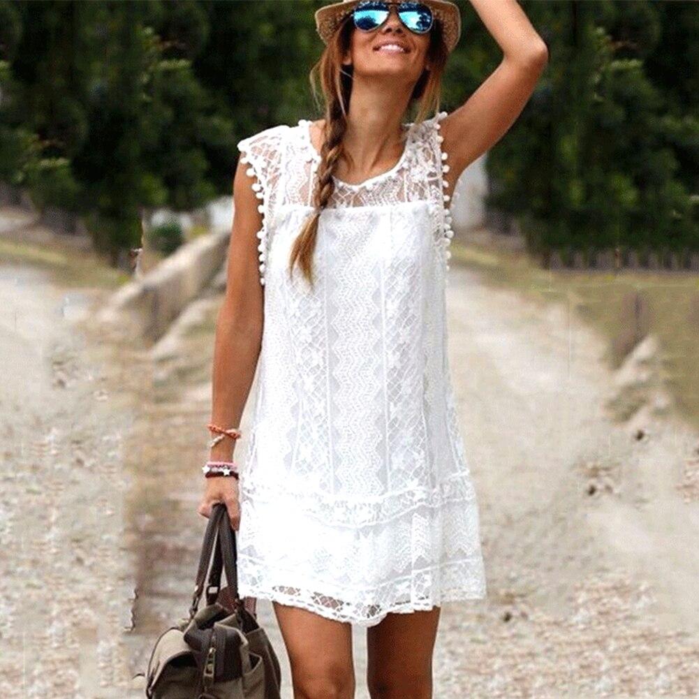 Sexy Vestido de playa de verano sin mangas Casual para mujer Vestido corto de playa con borla blanco sólido Mini vestido de encaje talla grande