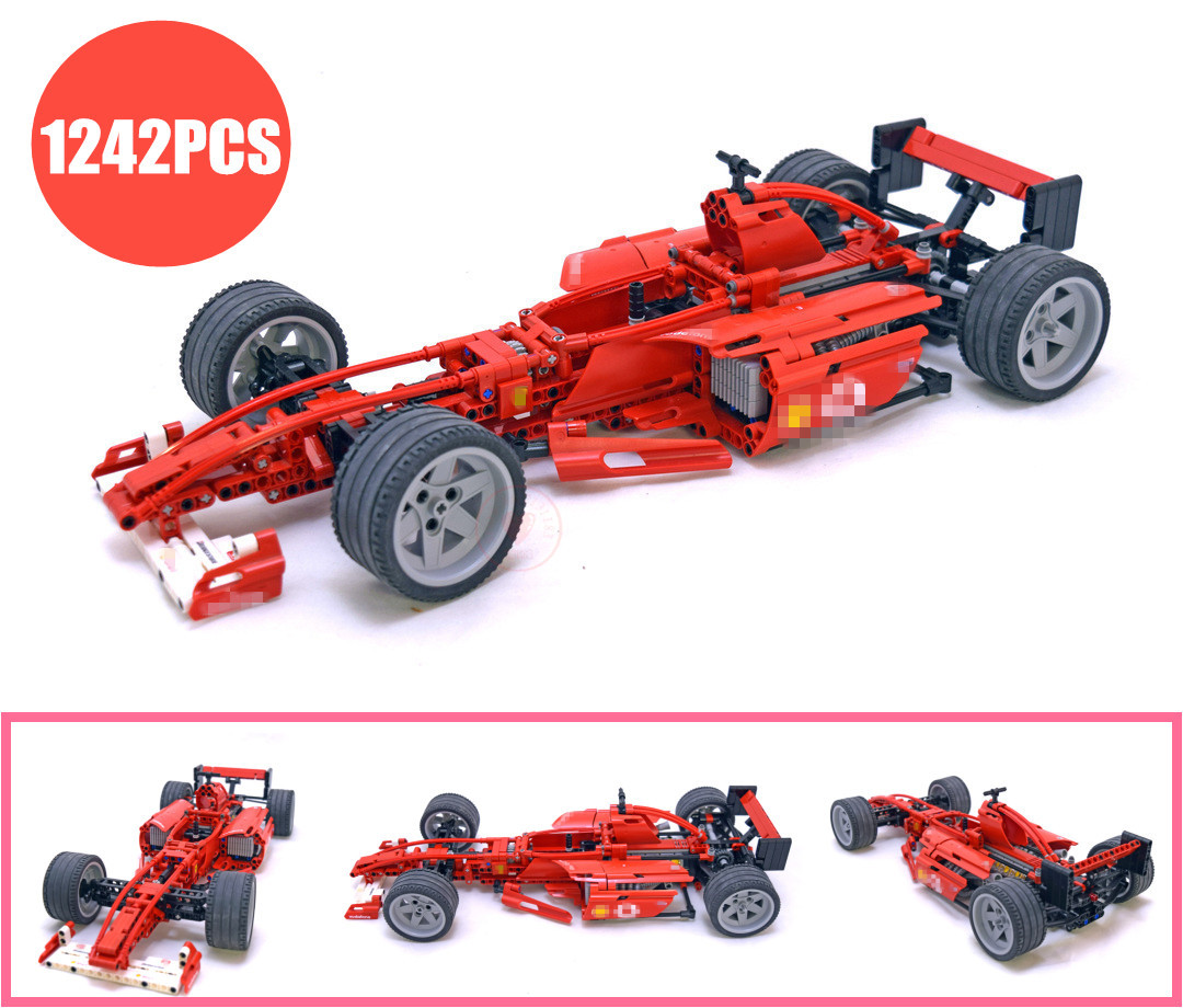цена на New Technic Racing Car 1:8 Formula F1 fit legoings technic car city Model building kit block Bricks toys car 8386 DIY kid gift