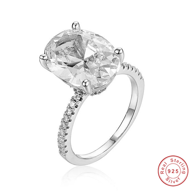 Hot Sale 925 Sterling Silver Wedding Rings Finger Luxury Cushion Cut 3ct CZ Ring For Women Engagement Jewelry Anel Size 5-10