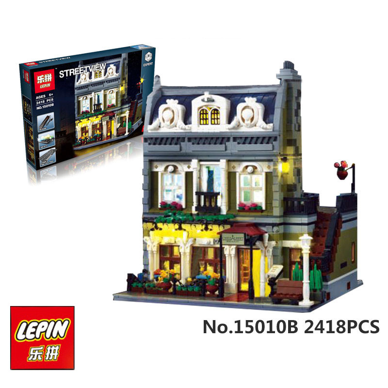 IN STOCK LEPIN 15010B 2418 pcs Streetview The Parisian Restaurant Set with Light Version Building Blocks Bricks Toys 10243 new lepin 15010 expert city street parisian restaurant model building kits blocks funny children toys compatible with 10243 gift