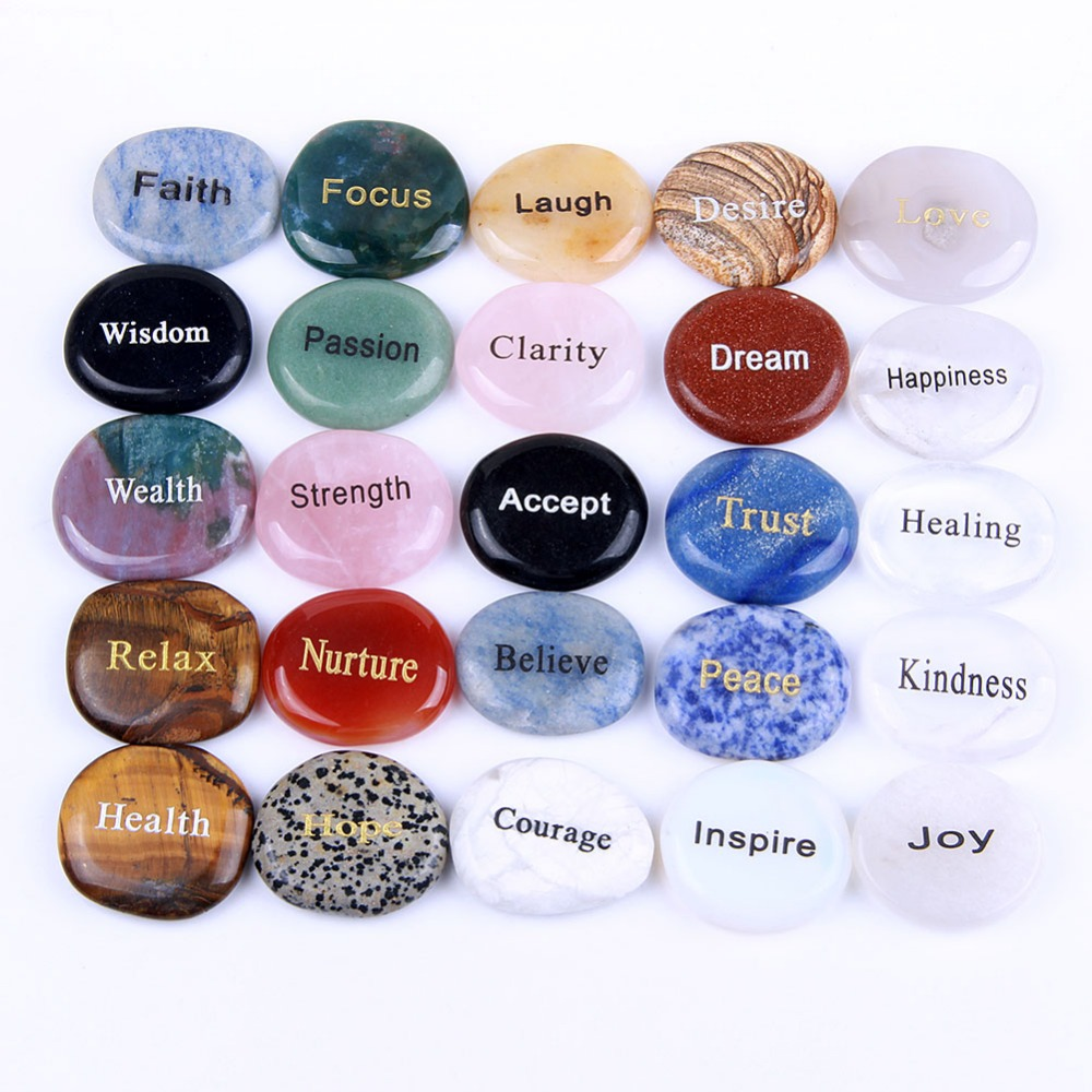 25pcs Palm Stones Set Caved Inspire Words Reiki Healing Quartz Crystals Feng Shui Crafts Home Decoration Mixed