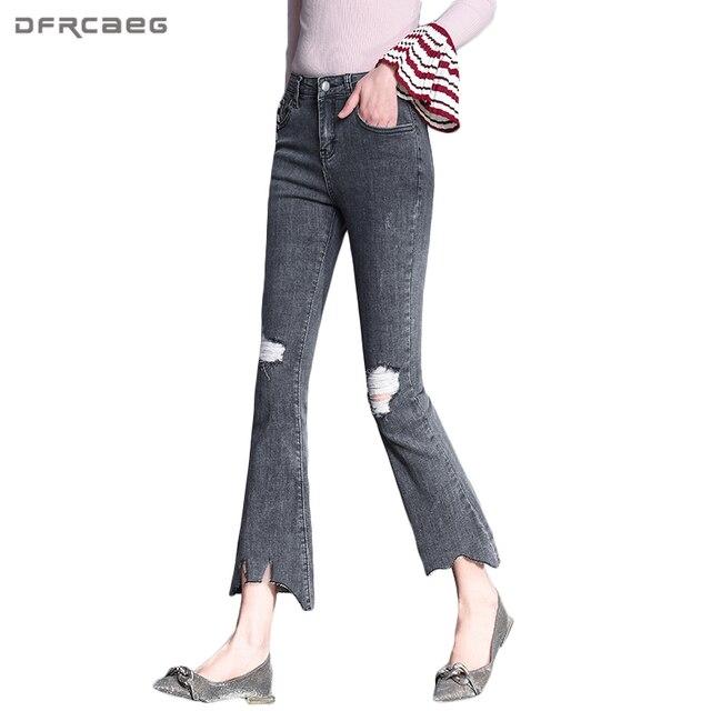438bac6c110f Nouveau Mode Évasée Jeans Femme 2018 Taille Haute Cheville-Longueur  Pantalon Gris Trou Jeans Pour