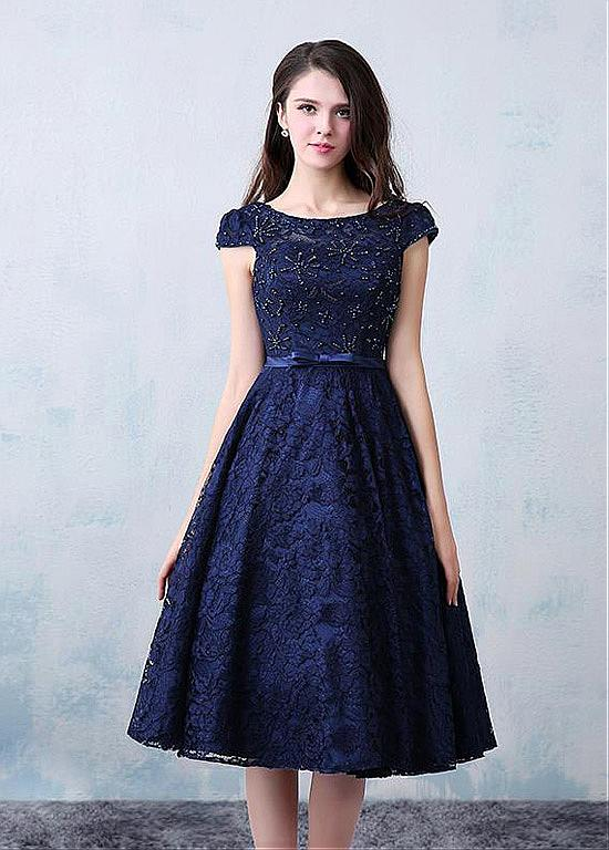 Vintage Lace Navy Blue Short Prom Cocktail Dresses Knee Length Cap Sleeves Beaded A line
