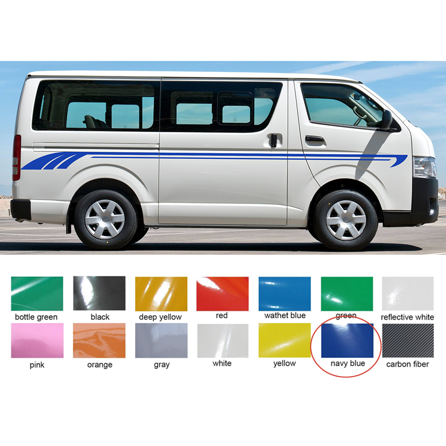 2 pc cool line side door stripe graphic vinyl car sticker for hiace 2015 2016 2017