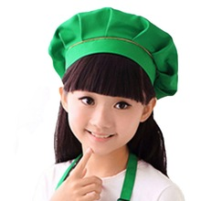 New Child Hat Cute Children Kids Girls Cooking Baking Kitchen School Children Bib Headwear Solid Caps DIY