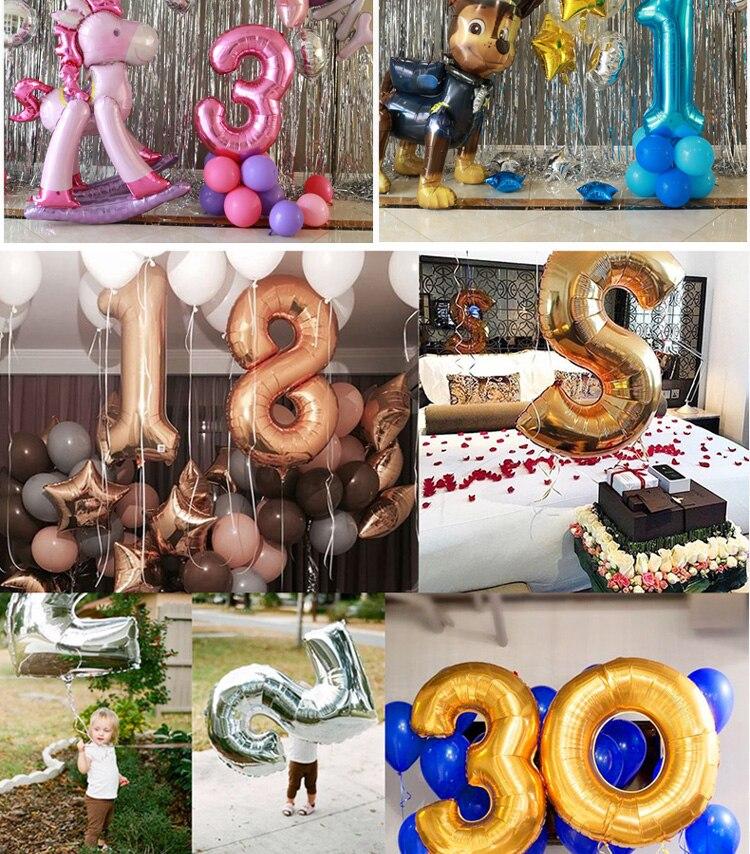 510a95e10 40 polegada rosa de Ouro Prata rosa azul preto tamanho grande Número Folha  Balões de Hélio Festa de Aniversário Celebração decoração grandes globos em  ...