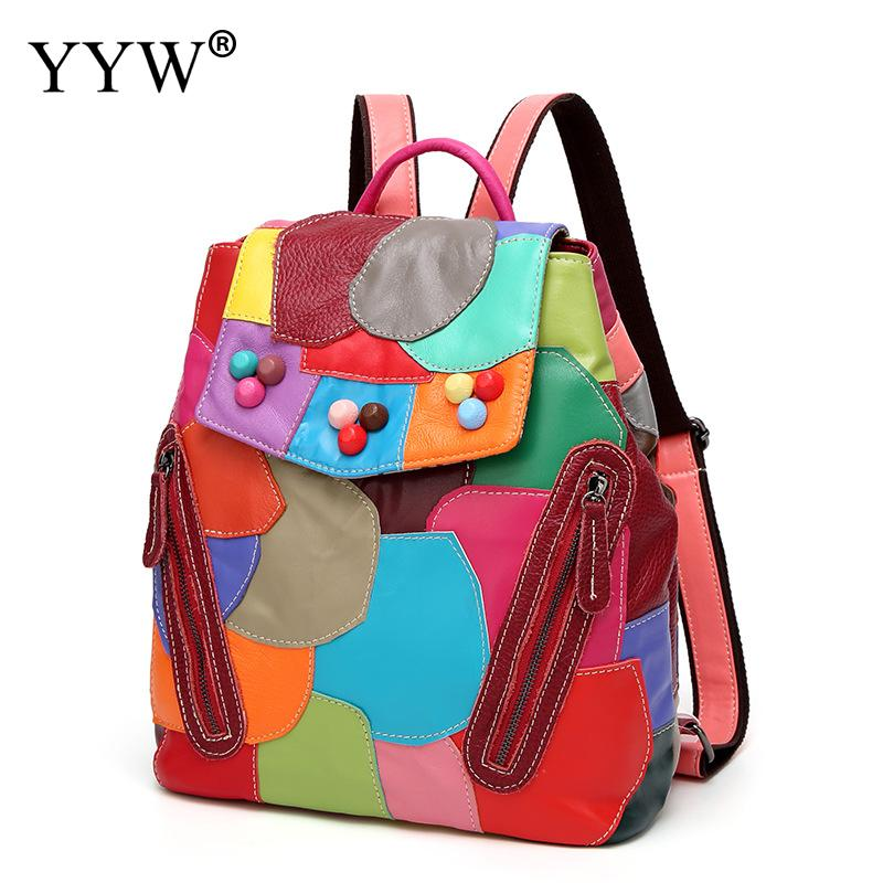 Holographic Backpack Women Skin School-Bags Teenager Pu For Girls Goat Soft-Laser Female