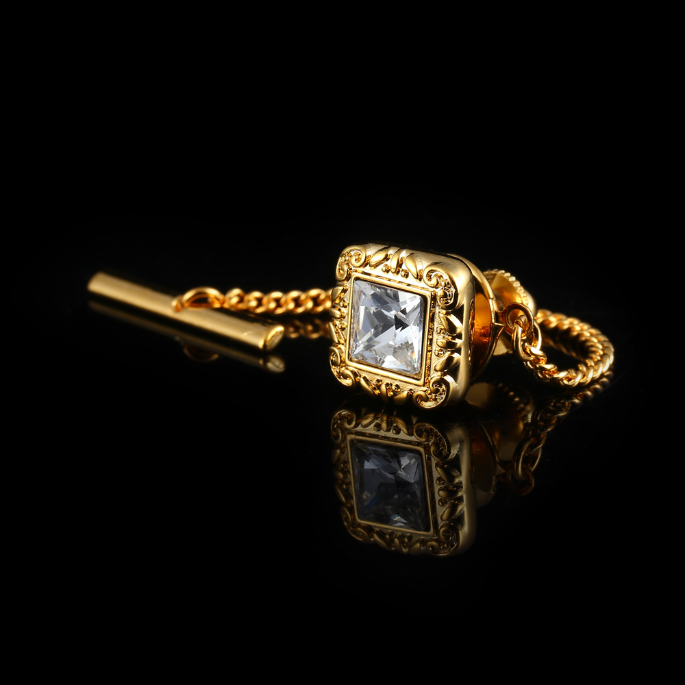 Luxury Tie Tack Pin Square Czech Crystal Mens Shirt Tie Clips Pins Lock Button With Chain Men Tie Buckle Clothing Wedding Gifs