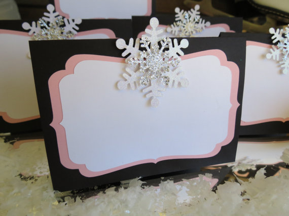 Personalised 3d snowflake place cards name cards winter christmas wedding