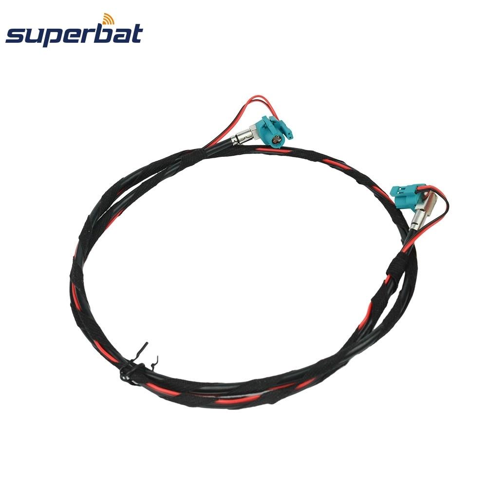 Superbat For BMW F10 F15 F20 F25 F30 Fakra Z HSD Female Jack Right Angle NBT Video Decar 535 Cable 100cm