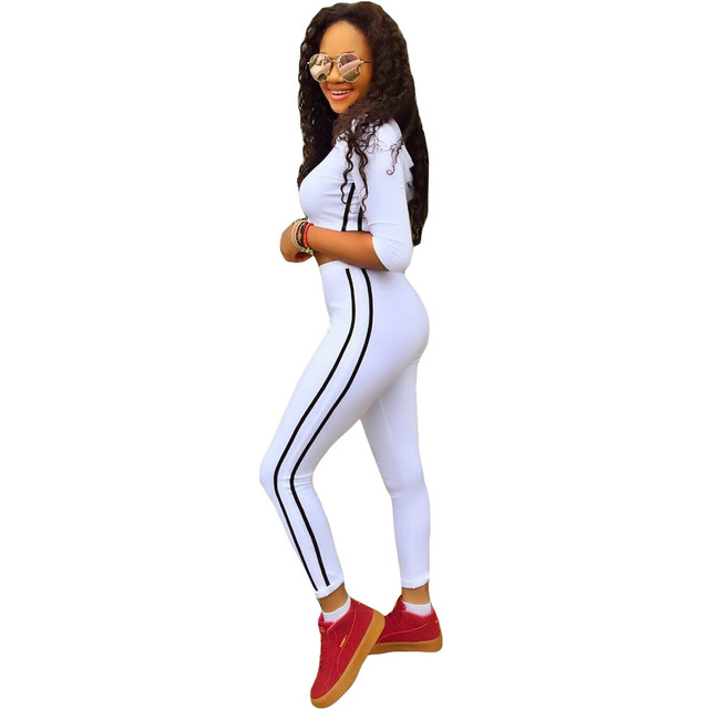 Black Striped 2 Piece Jumpsuit Sexy Long Pants New 2016 Winter Women Stretch White Bodycon Club Jumpsuits And Rompers
