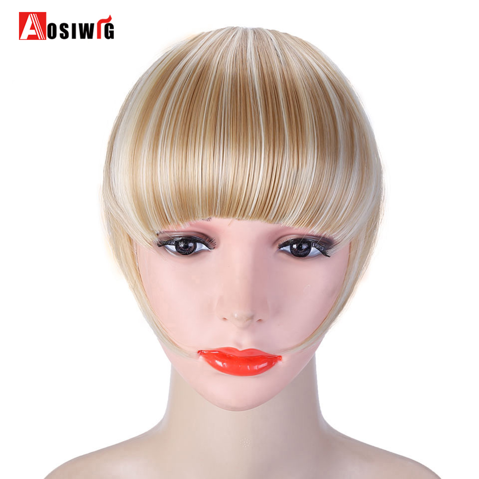 AOSI WIG Black Brown One Piece Clip In Hair Bangs Fringe Hair Extensions With High Temperature Synthetic Fiber Hair