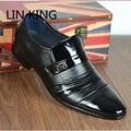 LIN REY Nueva Marca Clásico Sólido Pisos Resbalón de Los Hombres Oxfords Zapatos de Los Hombres de Negocios Vestido de Boda Oficina Casual Cuero de La Pu zapatos