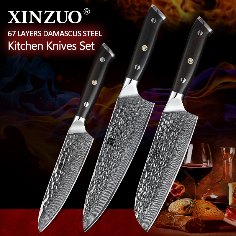 XINZUO 3 Pcs Kitchen Knives Set vg10 Damascus Steel Stainless Steel Pro Chef Cleaver Santoku Utility