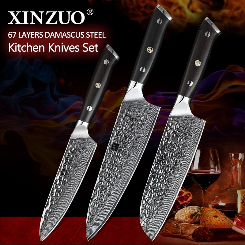 Ev ve Bahçe'ten Bıçak Setleri'de XINZUO 3 Adet Mutfak Bıçakları Seti vg10 Şam Çelik Paslanmaz Çelik Pro Şef Cleaver Santoku Utility Soyma Bıçağı Abanoz Kolu'da  Grup 1