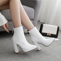 2019 Fashion Women 10.5cm High Heels Fetish Zip Boots Leather Block White Heels Sock Ankle Boots Scarpins Chunky Shoes YMN 36