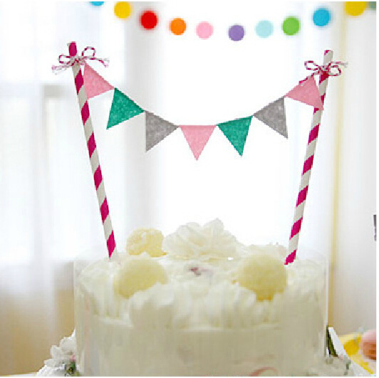 1PCS Birthday Cake Toppers Party Supplies Wedding Flag Baking Decorative Accessories
