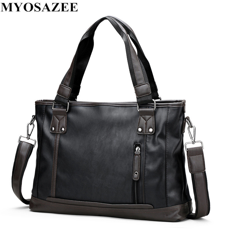MYOSAZEE  Brand Fashion Male Commercial Briefcase PU Leather Bag Business Vintage Travel Casual Men's Messenger Bags Computer
