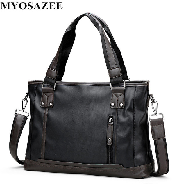 49eed60252fd8 ... Evrak Çantası PU Deri Çanta Iş Vintage Seyahat Rahat erkek postacı  çantası Bilgisayar. MYOSAZEE Brand Fashion Male Commercial Briefcase PU  Leather Bag ...