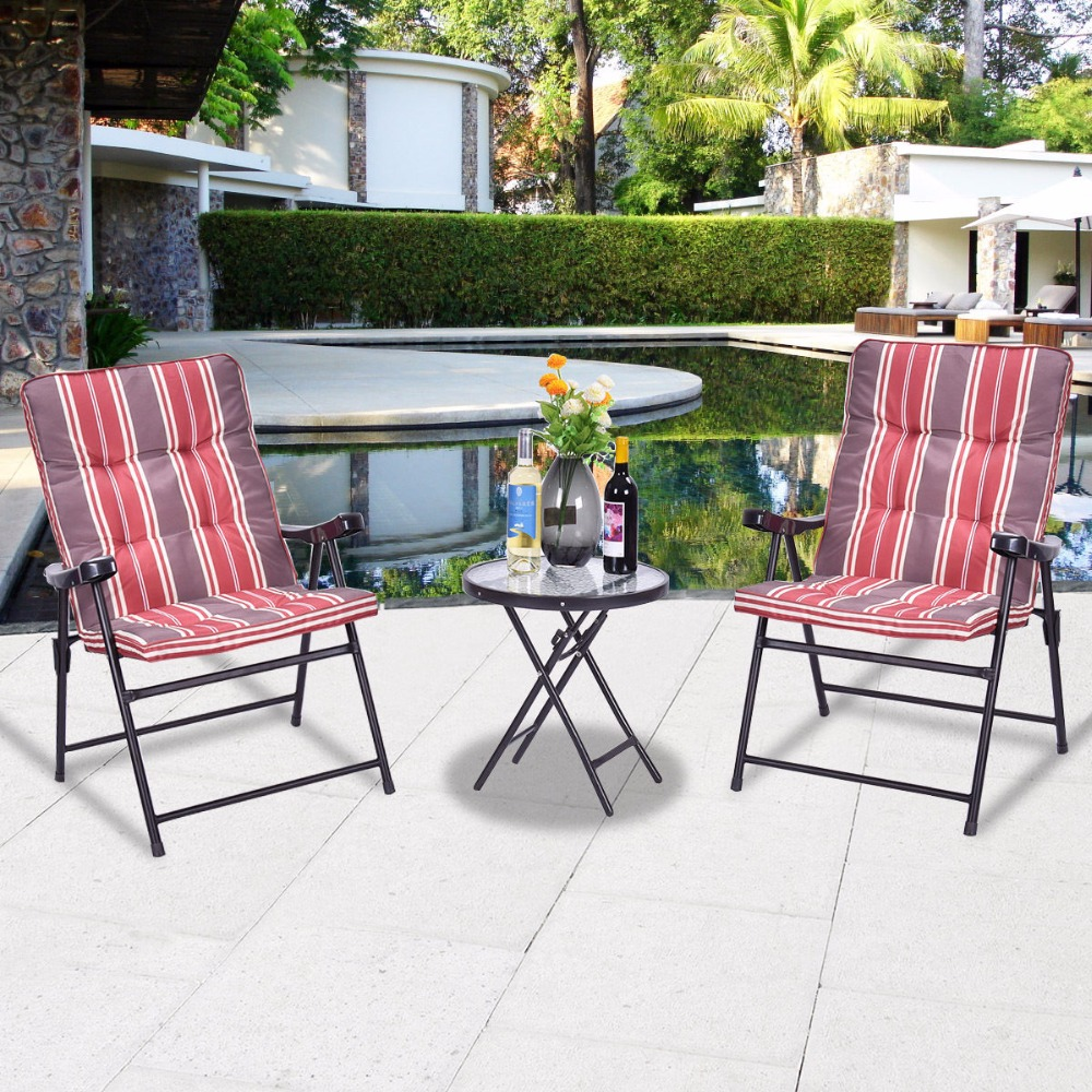 patio 3 pcs outdoor folding chairs table set furniture garden with cushions - Outdoor Folding Chairs