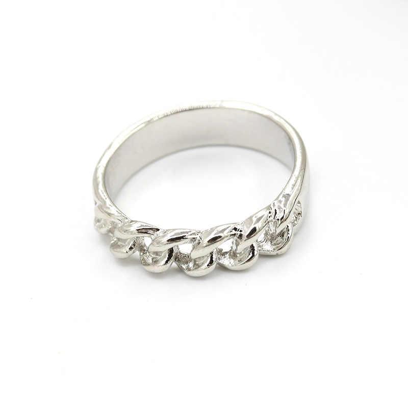 น่าสนใจ Chain Hollow Design แหวนเงินทองแหวนเรขาคณิตสำหรับผู้หญิง