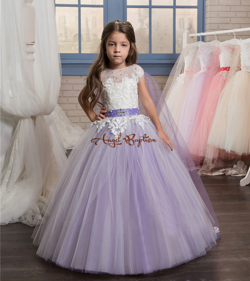 Cute Princess purple and pink ball gown flower girl dresses appliqued lace with train girls birthday party dress kid formal wear ball gown sky blue open back with long train ruffles tiered crystals flower girl dress party birthday evening party pageant gown