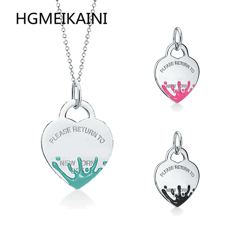 Tiff silver 925 classic collarbone chain original heart-shaped colored enamel necklace pendant jewelry fashion ladyTiff silver 925 classic collarbone chain original heart-shaped colored enamel necklace pendant jewelry fashion lady