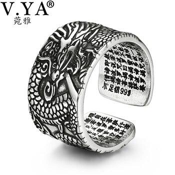 5a1b1669f382 V YA 990 de plata esterlina anillos de dragón para hombres Homme Vintage  anillo abierto de plata tailandesa joyería regalo de la fiesta de cumpleaños