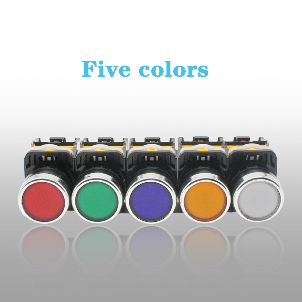 LA38-11DS 1PCS <font><b>LED</b></font> Latching <font><b>Switch</b></font> Sliver Contact Push Button <font><b>Switch</b></font> with Light 24V 220V <font><b>22mm</b></font> Red Yellow Blue Green image