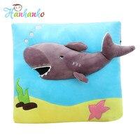 クリエイティブ3dサメ正方形クッションぬいぐるみキッズ漫画枕ソフトソファクッション子供クリスマスギフト35セン